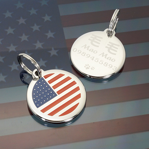 寵物名牌客製-美國國旗狗牌子-USA-flag-FulgorJewel-Steel-Pet-ID-Tag.jpg